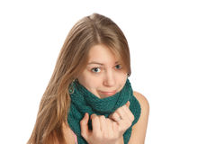 Young woman with scarf  on white background Royalty Free Stock Image