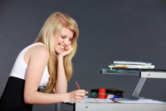 Young woman with schoolwork Stock Image
