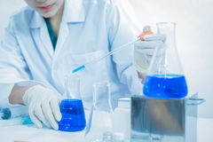 Young woman scientist working at the laboratory Royalty Free Stock Photos