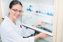Young woman scientist working at the laboratory Royalty Free Stock Photo