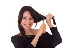 Young woman and scissors, isolated Stock Image