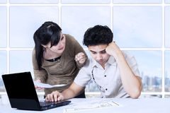 Young woman scold her husband. Angry asian women scold her husband at appartment Royalty Free Stock Image