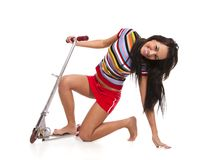 Young woman with scoote Stock Photography