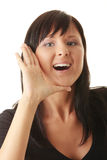 A young woman scream loud Stock Images