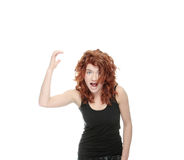 Young woman screaming Stock Images