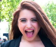 Young woman screaming royalty free stock image