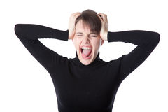 Young woman is screaming Stock Photos