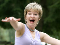 Young woman screaming. Happy young woman screaming royalty free stock images
