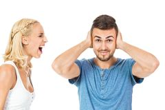 Young woman screaming at boyfriend isolated Stock Photography