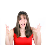 Young woman screaming with funny face isolated on white backgrou Royalty Free Stock Photography