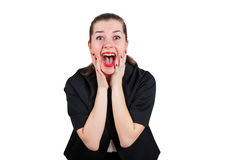 Young woman screaming happily. With red lips, isolated on white Stock Photo