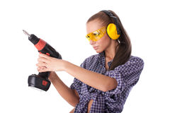 Young woman screwdriver Royalty Free Stock Photography