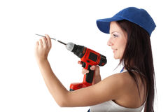 Young woman screwdriver Stock Images
