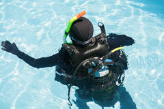 Young woman on scuba training Stock Photography