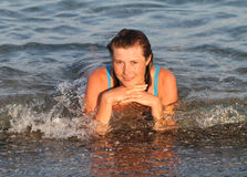 Young woman in sea Stock Photos