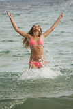 Young woman in the sea Stock Photography