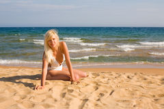 Young woman and sea Stock Image