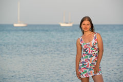 Young woman on the sea Stock Photo