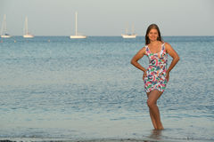 Young woman on the sea Royalty Free Stock Photo