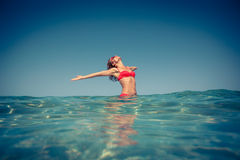 Young woman in the sea Royalty Free Stock Photography