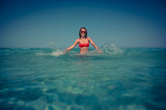 Young woman in the sea Stock Image
