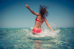 Young woman in the sea Royalty Free Stock Images