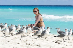 Young woman with seagull Stock Images
