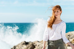 Young woman at the seaside Royalty Free Stock Images