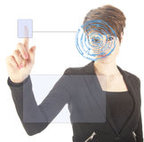 Young woman with security iris and fingerprint scan isolated Stock Photo