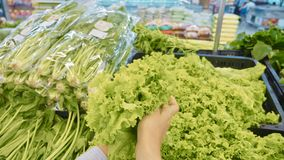 Young woman selecting green vegetables in grocery store stock image