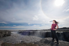 Young Woman with Selfoss waterfall in background Stock Photos