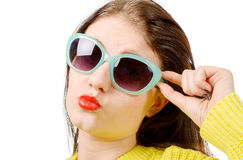 Young woman send kiss, with red lips and sunglasses Royalty Free Stock Image