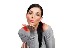 Young woman sending kiss - isolated Stock Photos