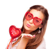 Young woman sending kisses Royalty Free Stock Photos