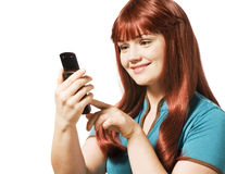 Young woman sending a text message Royalty Free Stock Photo