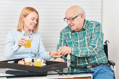 Young woman and senior having breakfast together. Family with young wife and senior having breakfast together in the apartment royalty free stock images