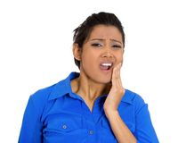 Young woman with sensitive tooth ache crown problem Stock Images