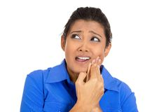 Young woman with sensitive tooth ache crown problem Royalty Free Stock Photos