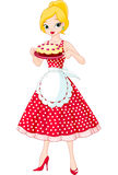 Young Woman Serving Cake vector illustration