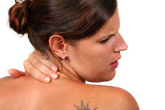 Young Woman With Severe Back Pain Stock Photography
