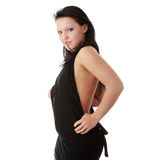 Young woman in sexy black dress Stock Photography