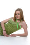Young woman in sexy green shirt Stock Photos