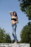 Young woman sexy in summer park Royalty Free Stock Images