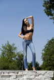 Young woman sexy in summer park Stock Images