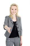 Young woman with shake hands Royalty Free Stock Photography