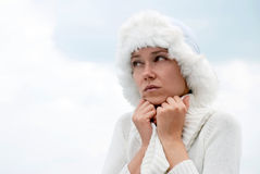 Young woman shaking for the cold winter Royalty Free Stock Images