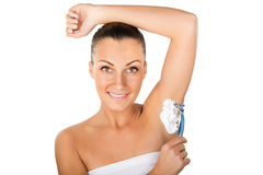 Young Woman Shaving Armpits Stock Images