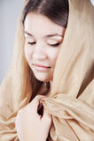 Young woman in the shawl Royalty Free Stock Photo
