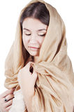 Young woman in the shawl Stock Images