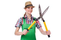 Young woman with shears Royalty Free Stock Photos